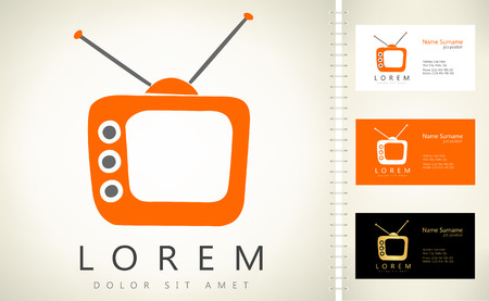 cartoons television: Tv vector with business card template.