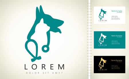 Dog, cat and stethoscope logo. Ilustracja