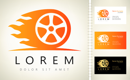 Wheel in Fire flame logo vector Illustration