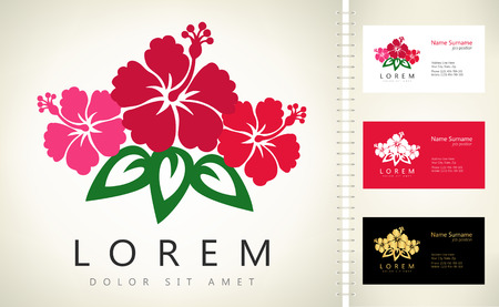 temperate: Flowers vector with business card template. Illustration
