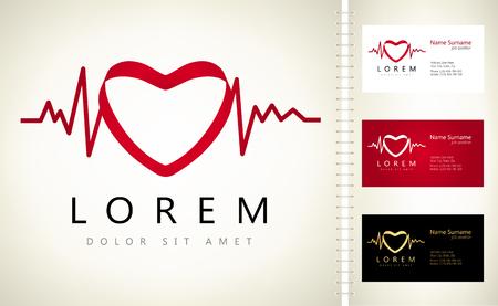 cardioid: Heartbeat sign - vector logo