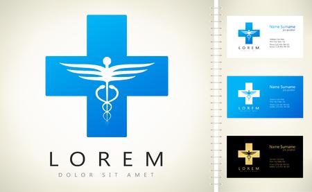 emblem for drugstore or medicine: Caduceus medical logo. Emblem for drugstore or medicine.