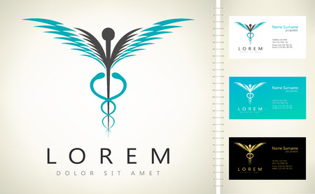 medicaid: Caduceus medical logo. Emblem for drugstore or medicine.