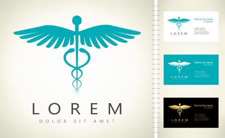science symbols metaphors: Caduceus medical logo. Emblem for drugstore or medicine.
