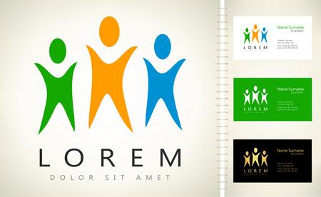 in unison: People logo. Vector illustration.