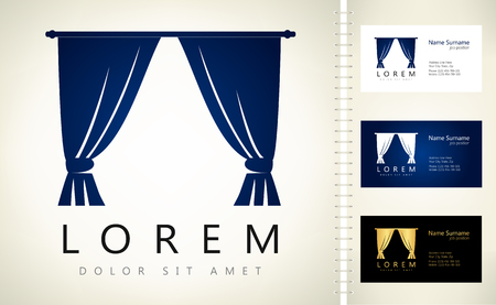 portiere: Curtains logo. Vector illustration. Illustration