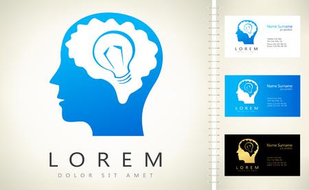 human head. brain with light bulb logo