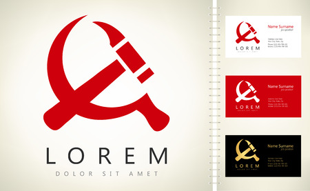 hammer and sickle vector with business card template. Ilustracja