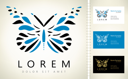 Butterfly vector with business card template.
