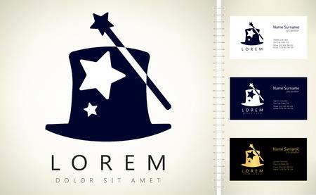 Magic wand and hat logo Ilustracja