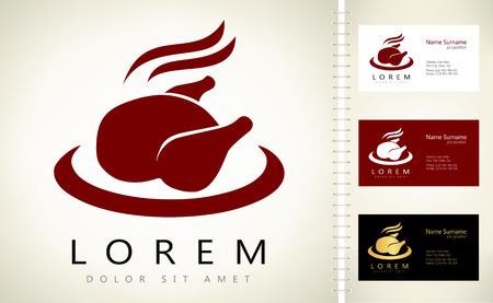 Roast chicken sign icon. Hen bird meat logo. Ilustracja