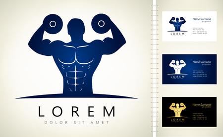 bodybuilder vector logo