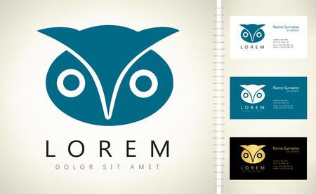 owl vector design with business card template editable. Ilustracja