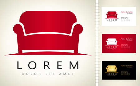 Furniture Sofa vector with business card template. Ilustracja