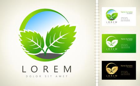 Eco logo green leaf vector illustration Ilustracja