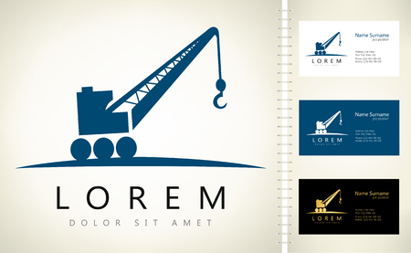 Crane vector with business card template. Ilustracja