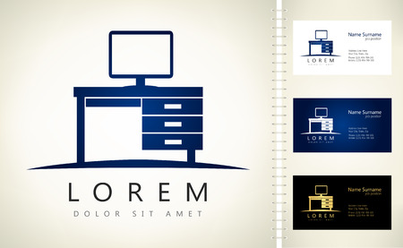 computer: Computer. Computer desk logo Illustration