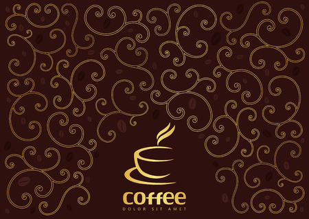 Coffee logo and background with swirl line. Ilustracja