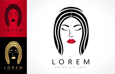 Woman face and hair logo vector Zdjęcie Seryjne - 81320332