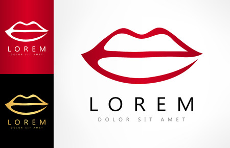 Lips logo. Female lips print. Ilustracja