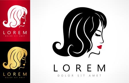 Woman face and hair logo vector