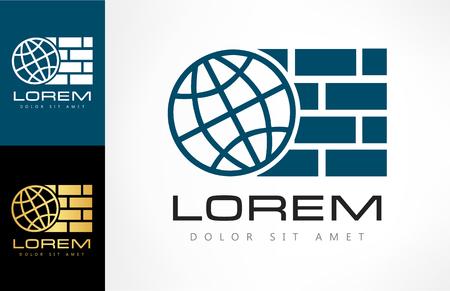 Planet and bricks. Logo construction company. Zdjęcie Seryjne - 81320338
