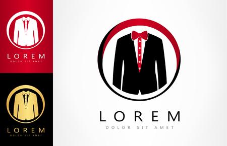 Men suit vector. Jacket and tie bow logo.