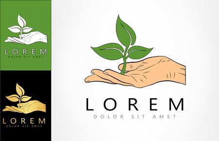 Plant in hand logo Ilustracja