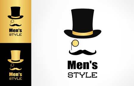 Male hat, mustache and monocle vector. Mens style logo.
