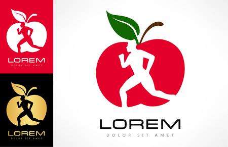 Logo de l'homme et de la pomme. Concept de perte de régime et de poids. Pomme rouge.
