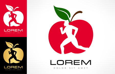 Man and apple logo. Diet and weight loss concept. Red apple.
