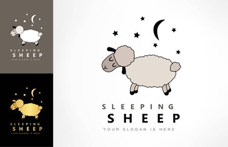 sleeping sheep, moon and star logo vector Zdjęcie Seryjne - 144241227