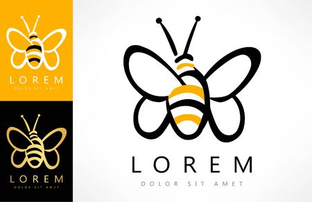 Bee logo vector. Insect illustration