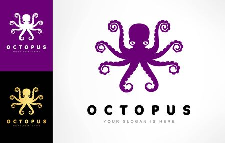Octopus logo vector. Underwater animal. Clam. Ilustracja