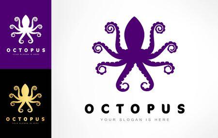 Octopus logo vector. Underwater animal. Clam. Zdjęcie Seryjne - 144241244