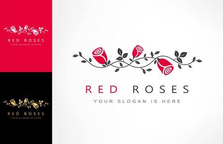 roses flowers, branch with roses logo vector Zdjęcie Seryjne - 144790651