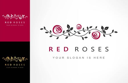 roses flowers, branch with roses logo vector