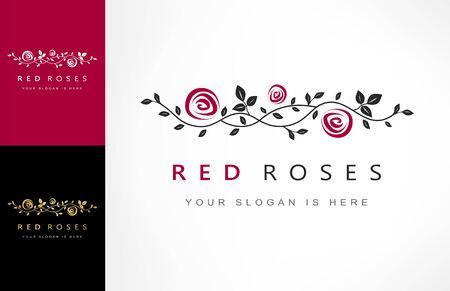 roses flowers, branch with roses logo vector Zdjęcie Seryjne - 144790652