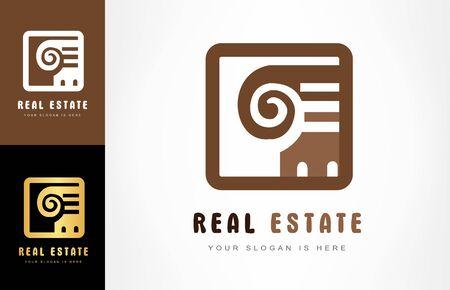 Real Estate Logo Design Vector Column