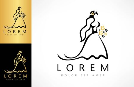 Bride in a wedding dress with a bouquet and veil logo vector. Ilustracja