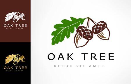 Oak tree logo. Acorn vector. Zdjęcie Seryjne - 146134686