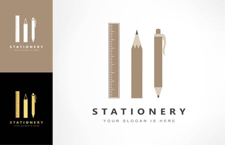 stationery logo vector. ruler, pencil and pen symbol. Ilustracja
