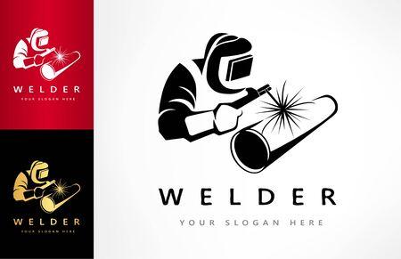 Welder welds a pipe in welding mask logo vector Zdjęcie Seryjne - 144790703
