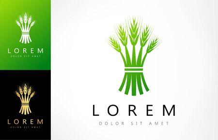 green ears of wheat logo vector