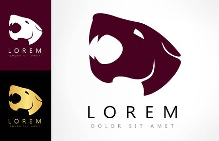 Tiger head logo. Animal mammal vector.