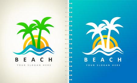 Oasis and beach logo vector. Palm tree, wave, sea and sun. Ilustracja