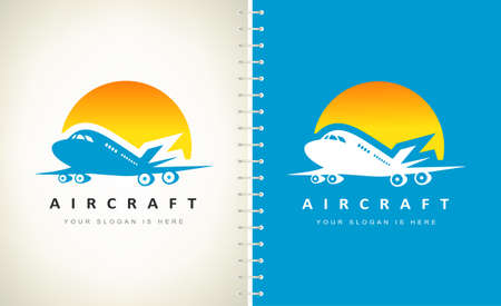 Airplane and Sun logo vector. Logo design. Ilustracja