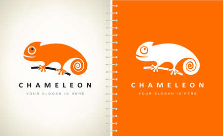 chameleon logo vector. lizard design.