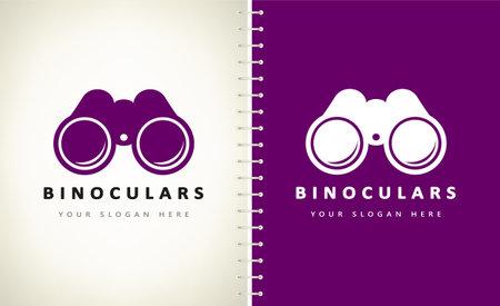 Binoculars logo vector. Handheld Optical Instrument.