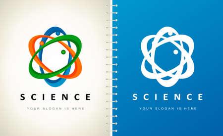 Atom logo vector. Science design illustration.